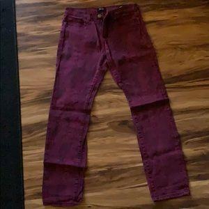 BDG Maroon snake skin pattern skinny jeans